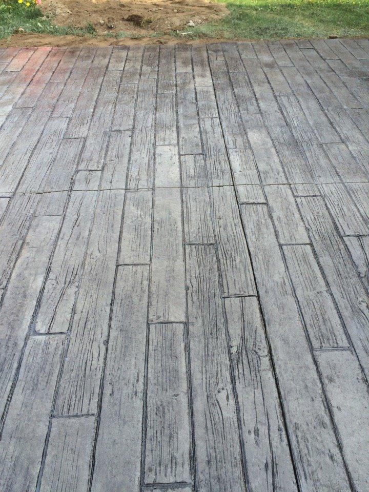 patio motif planche de bois