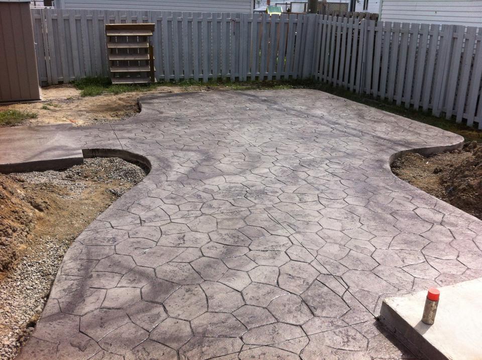 patio motif random stone avec place pour spa